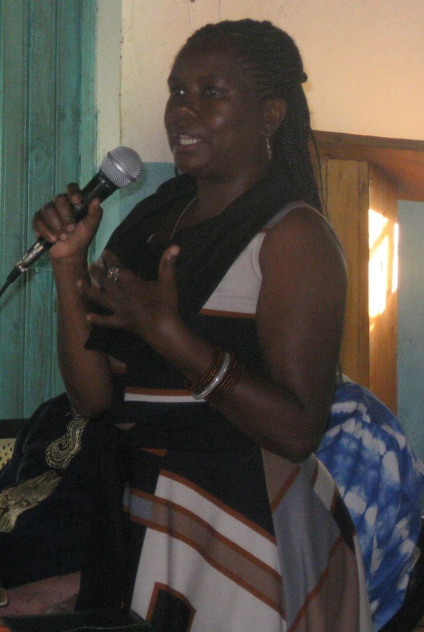 Grace Kyalo speaking at Harambee for Girl Child Education in Mulundi, Kitui, Kenya.
