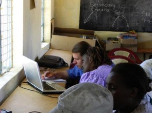 Mulundi Primary School teacers learning to email at the Mulundi Community Library, Kitui, Kenya.