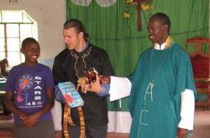 James receiveds parting gifts at St. James Batavia ACK.