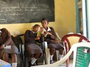 Kwa Muema Secondary students reading on their first visit to Mulundi Community Library, Kitui, Kenya.